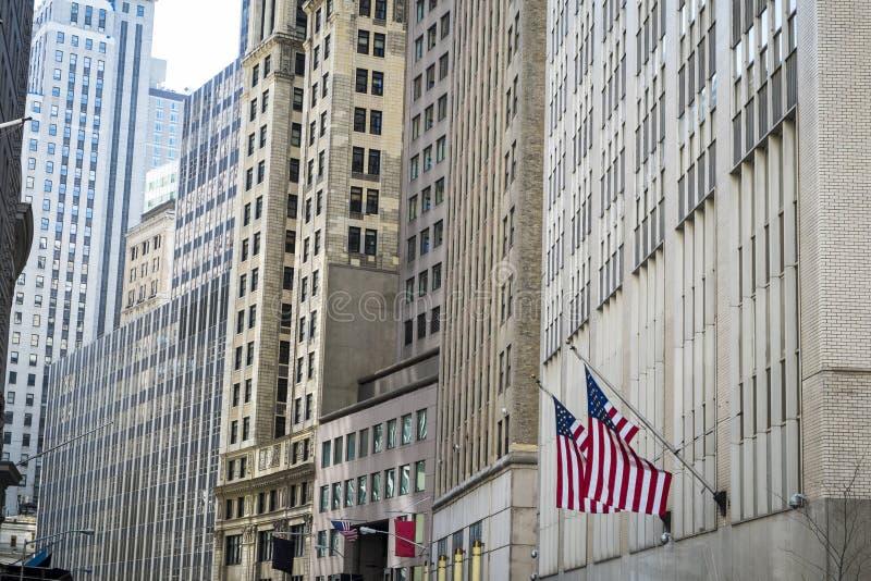 Finansiella områdesbyggnader, New York City arkivbild