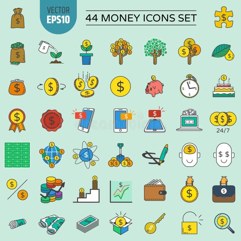 44 finansiella pengarsymboler som är fastställda och, och investering stock illustrationer