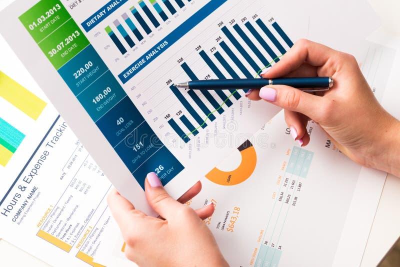 Finansiella rapport och diagram för affär arkivbild