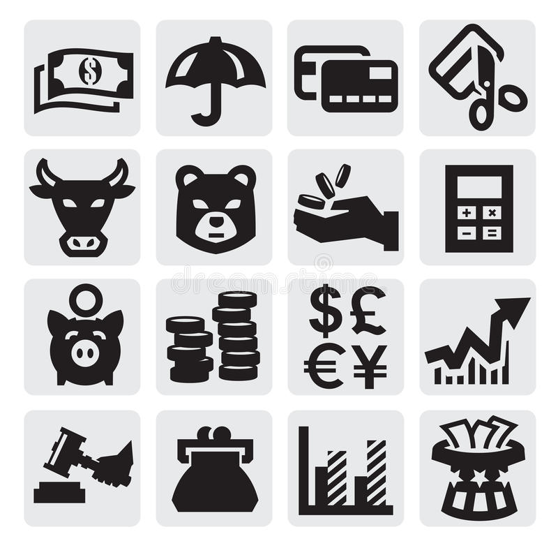 Finansiella symboler royaltyfri illustrationer