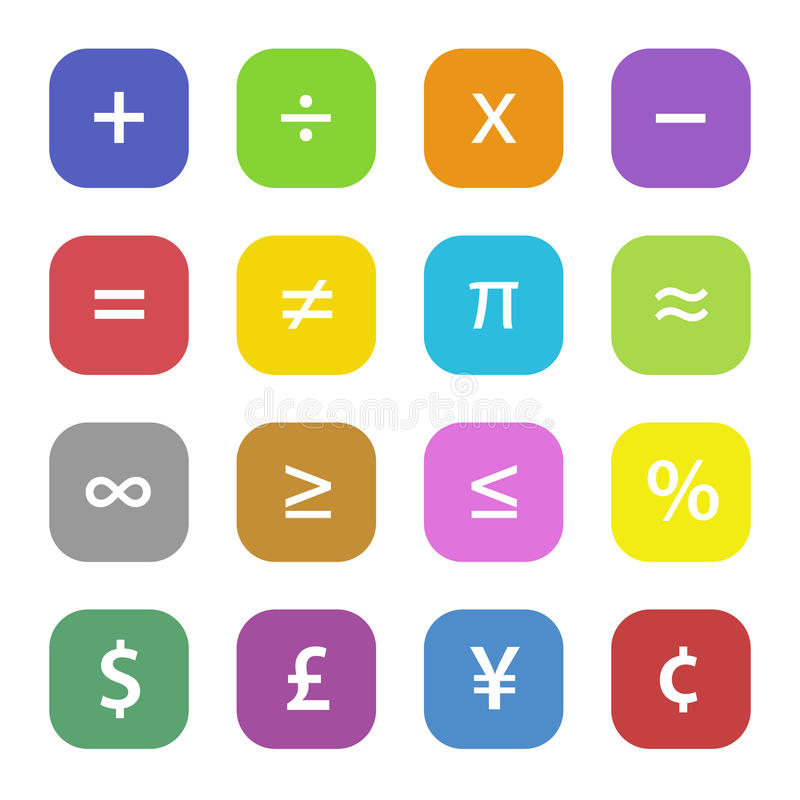 Finansiella symboler för matematik stock illustrationer