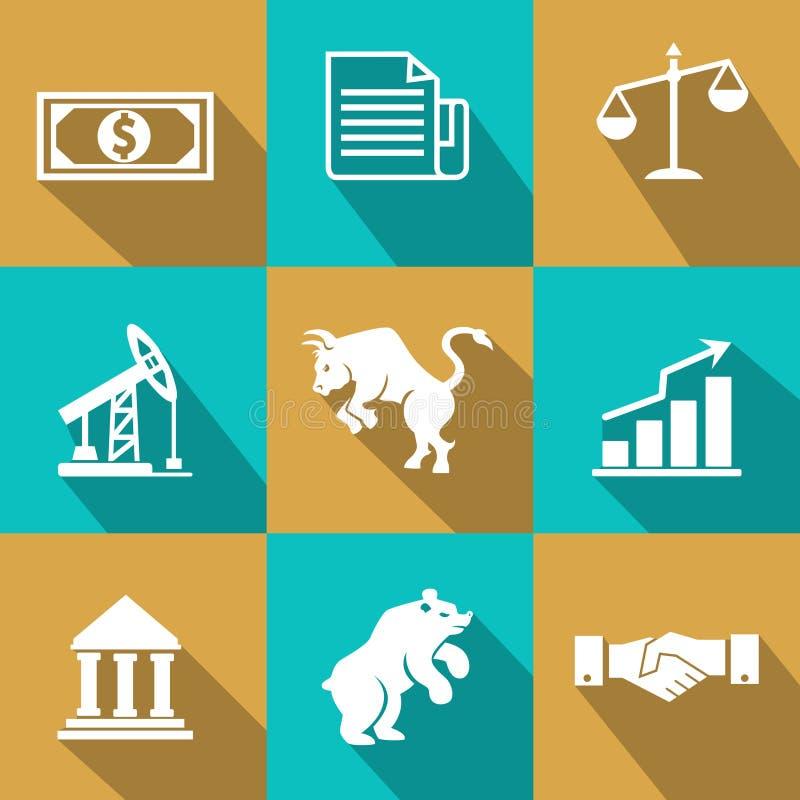 Finansiella symboler för vektor i moderiktig plan stil stock illustrationer