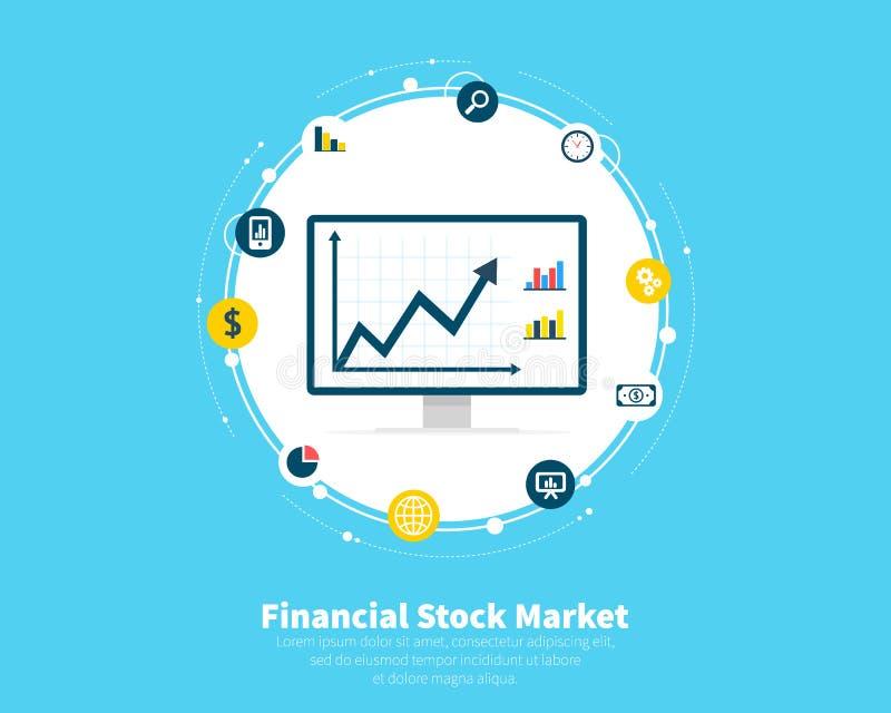 Finansiellt aktiemarknadbegrepp Handel e-kommers, kapitalmarknader, investeringar, finans Tillväxt av ekonomiskt stock illustrationer