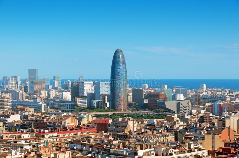 finansiellt barcelona område arkivbild