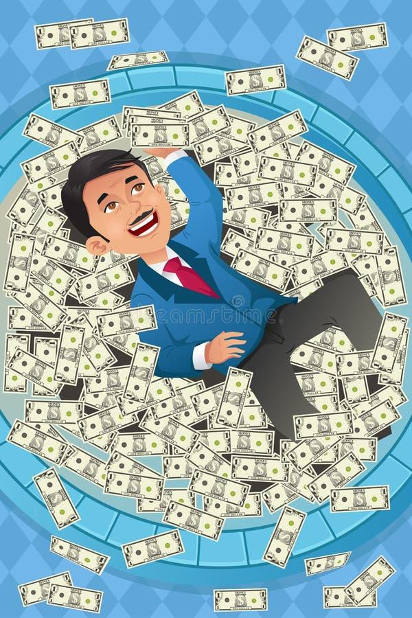 Finansiellt begrepp av en lycklig affärsman i en pöl vektor illustrationer