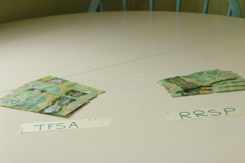 Finansiellt begrepp som visar valet mellan att investera i TFSA eller RRSP för kanadensare royaltyfri foto