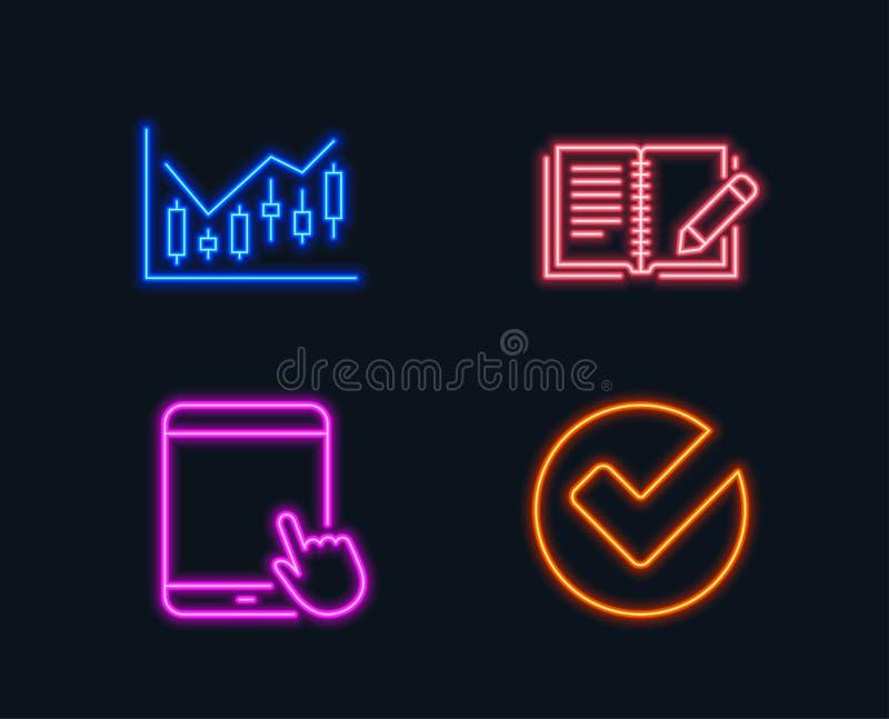 Finansiellt diagram, återkopplings- och minnestavlaPCsymboler Verifiera tecknet stock illustrationer