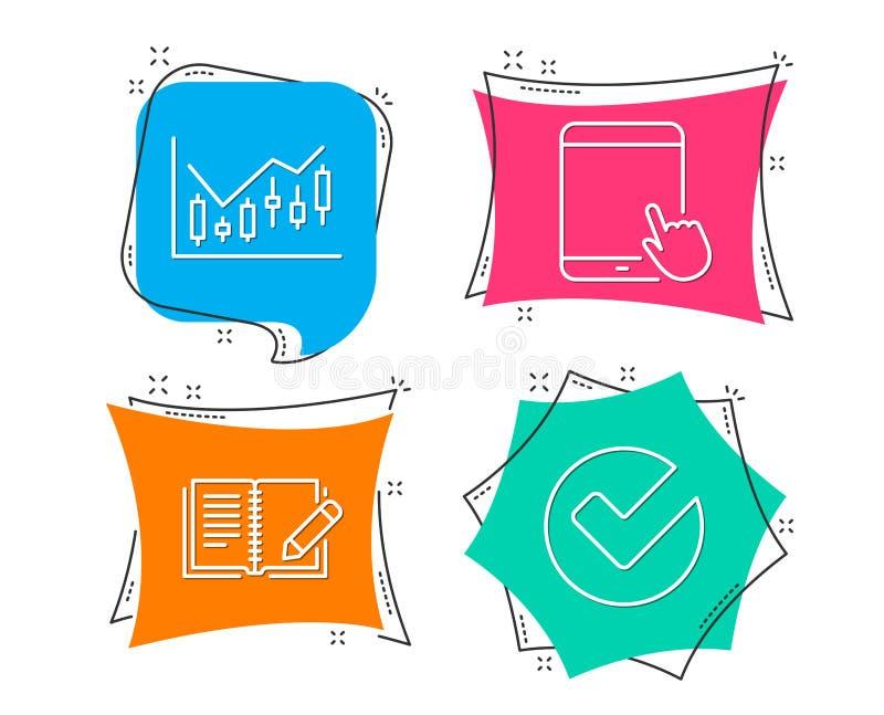 Finansiellt diagram, återkopplings- och minnestavlaPCsymboler Verifiera tecknet vektor illustrationer