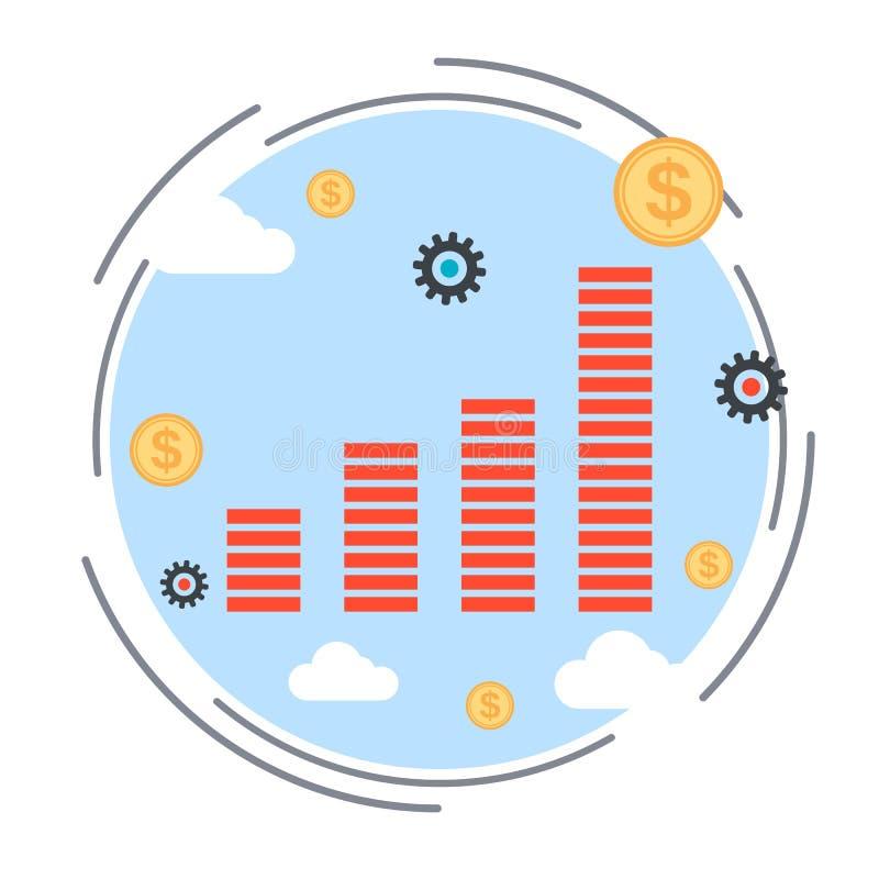 Finansiellt diagram, illustration för vinstförhöjningvektor vektor illustrationer