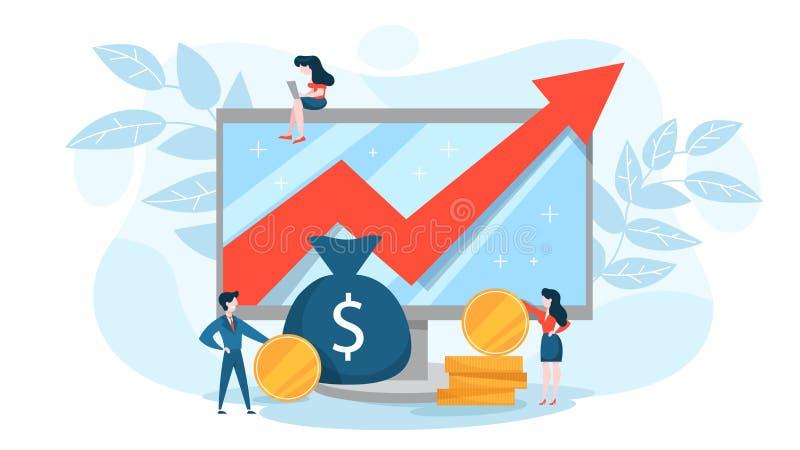 Finansiellt f?rh?jningbegrepp Idé av pengartillväxt vektor illustrationer