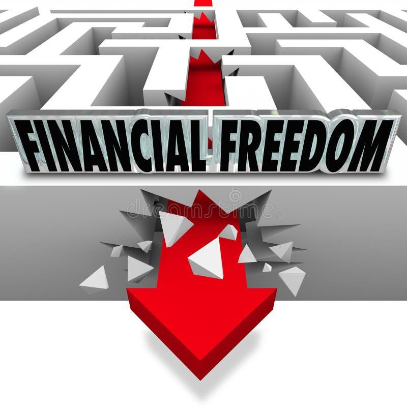 Finansiellt frihetsavbrott till och med räkningar för pengarproblemkonkurs royaltyfri illustrationer
