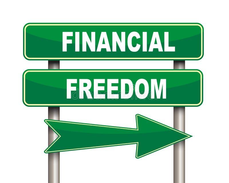Finansiellt frihetsgräsplanvägmärke royaltyfri illustrationer