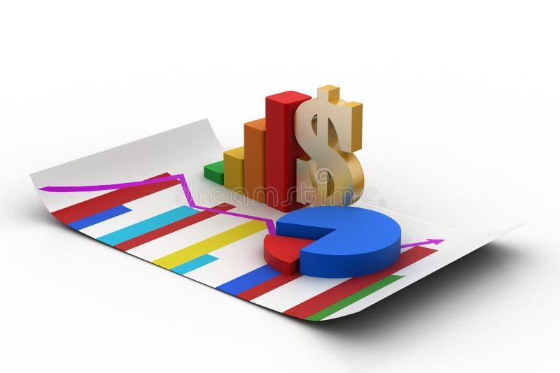Finansiellt graf och pajdiagram med dollartecknet stock illustrationer