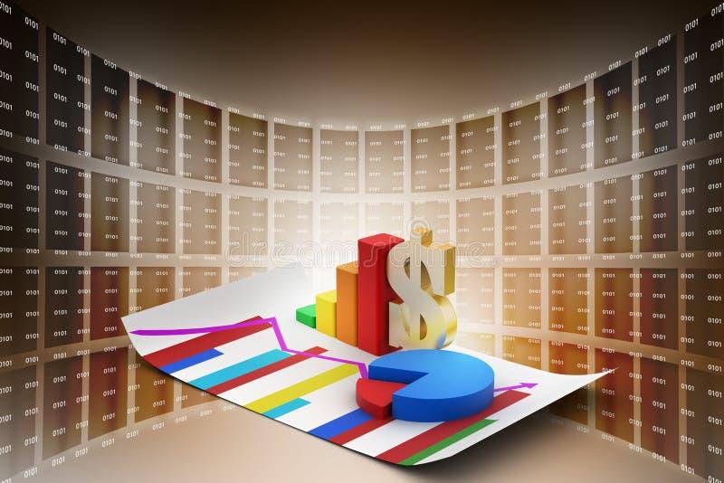 Finansiellt graf och pajdiagram med dollartecknet royaltyfri illustrationer