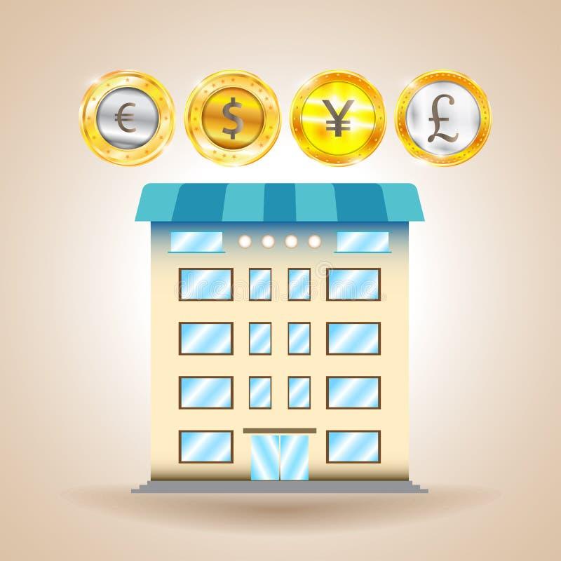 Finansiellt hus valuta Finans ekonomi också vektor för coreldrawillustration stock illustrationer