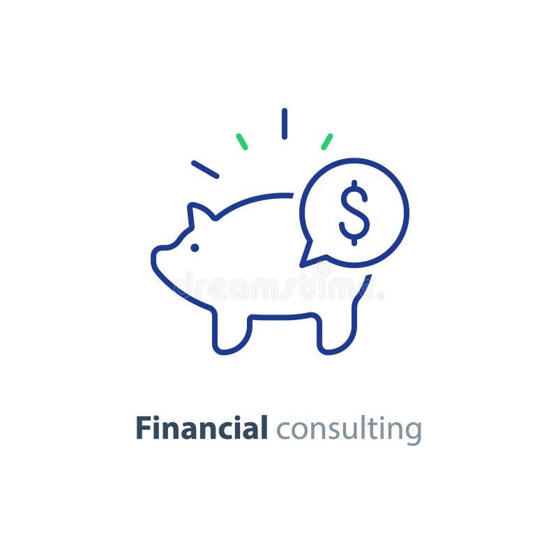 Finansiellt konsultera, investeringrådgivningservice, spargrissymbol stock illustrationer