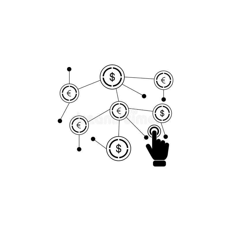 finansiellt nätverk på pekskärmsymbol Beståndsdel av pekskärmteknologisymbolen Högvärdig kvalitets- symbol för grafisk design Tec vektor illustrationer