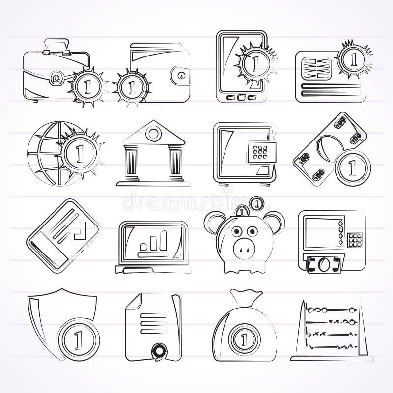 Finansiellt, packa ihop och pengarsymboler vektor illustrationer