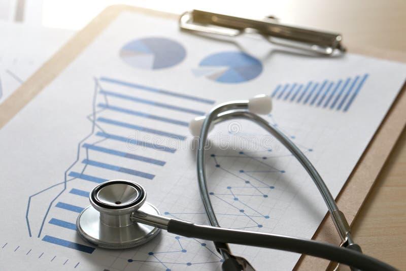 finansiellt rapportdiagram och rapport och stetho för räknemaskin medicinsk royaltyfri fotografi