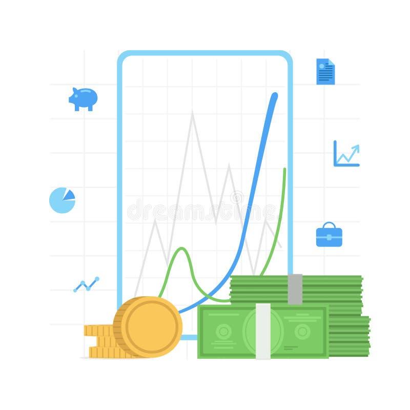 Finansiera analiticsen, diagram för affärsdiagramgraf med pengar Plan illustration för vektor royaltyfri illustrationer
