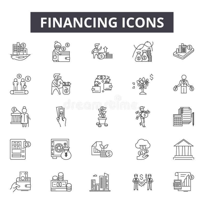 Finansiera linjen symboler för rengöringsduk och mobil design Redigerbart slaglängdtecken Finansiera översiktsbegreppsillustratio royaltyfri illustrationer