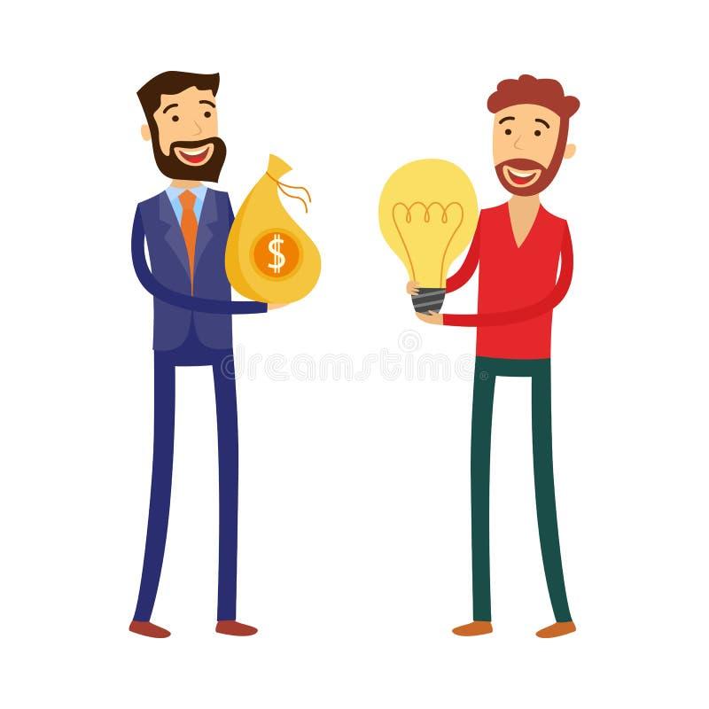 Finansiera nytt affärsidébegrepp med mannen som rymmer den ljusa kulan, och affärsmannen med oss dollar i påse vektor illustrationer