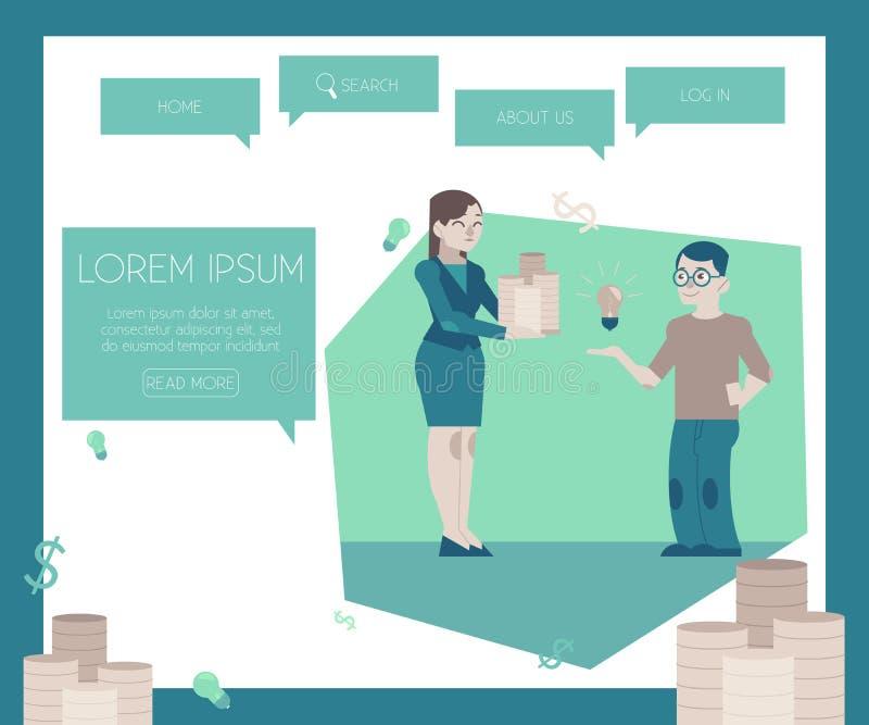 Finansiera nytt projekt och startbegrepp på websiten söka mallen royaltyfri illustrationer