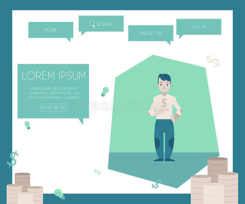 Finansiera och kreditera begrepp på websiten söka mallen med högar av mynt stock illustrationer