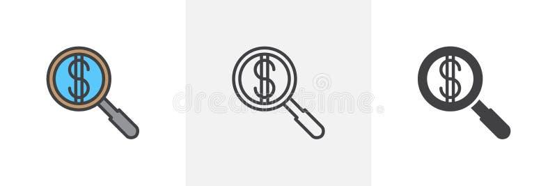 Finansiera sökandesymbolen royaltyfri illustrationer