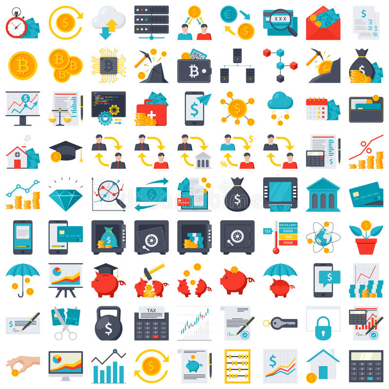 finansiera symboler vektor illustrationer