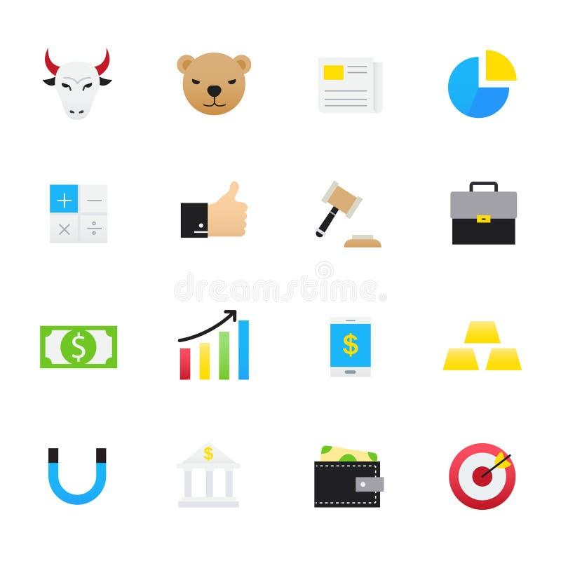finansiera symboler Uppsättningen av symboler för färg för illustration för affärssymbolsvektor sänker stil vektor illustrationer