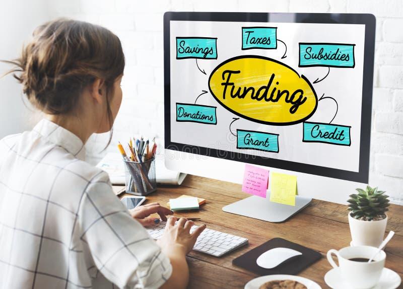Finansiering Grant Donation Diagram Concept arkivfoton