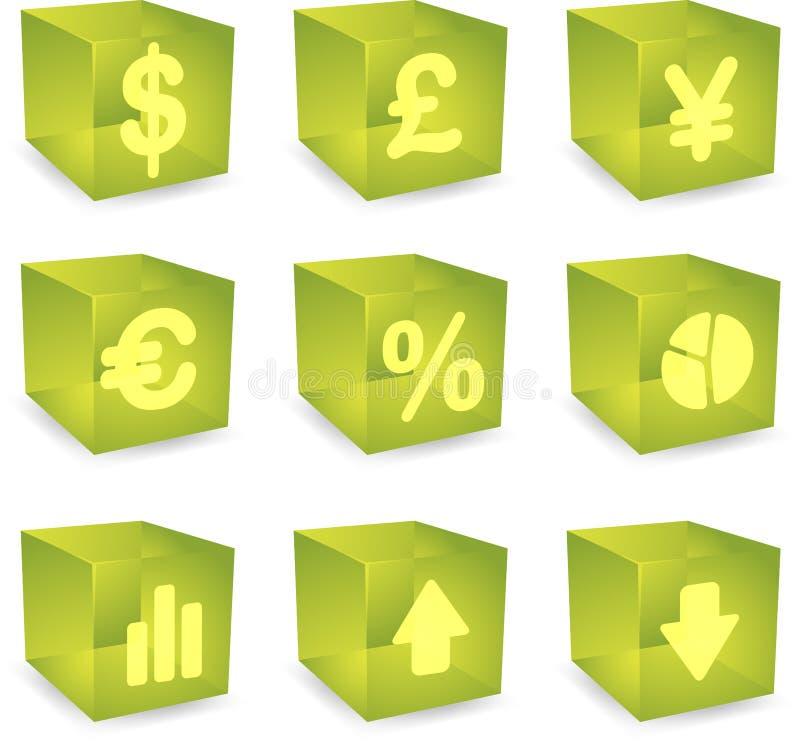 Finanskubsymboler stock illustrationer