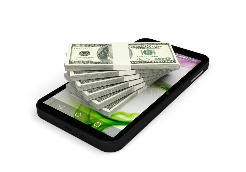 Finansonline-smartphone som packar ihop betalningapplikation royaltyfri illustrationer