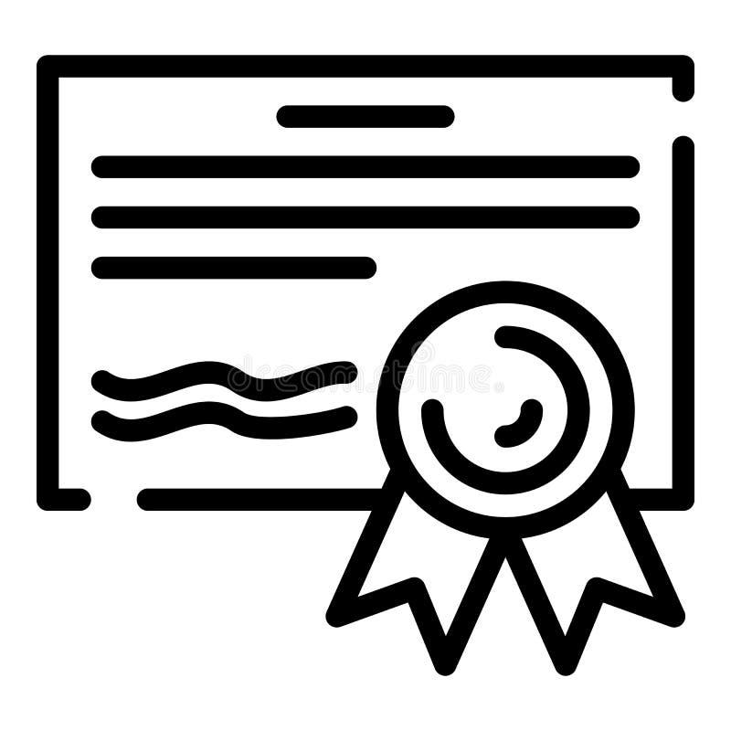 Finansowa dyplom ikona, konturu styl ilustracja wektor