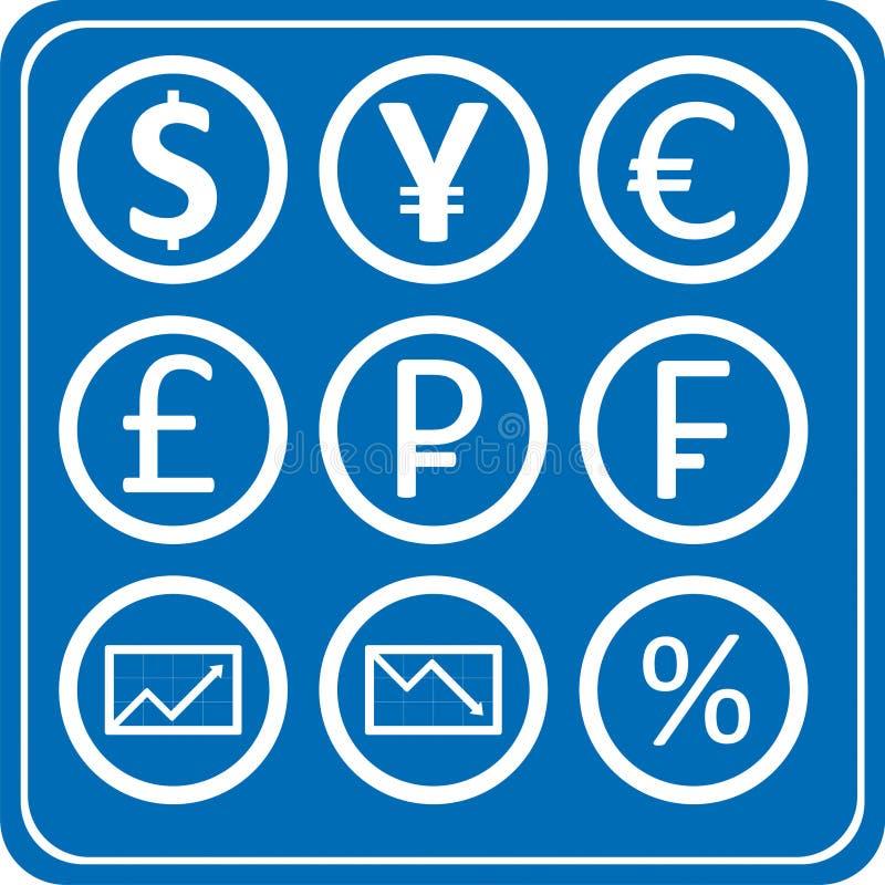 Finansowa Rynek Walutowy Ikon Paczka Zdjęcie Royalty Free