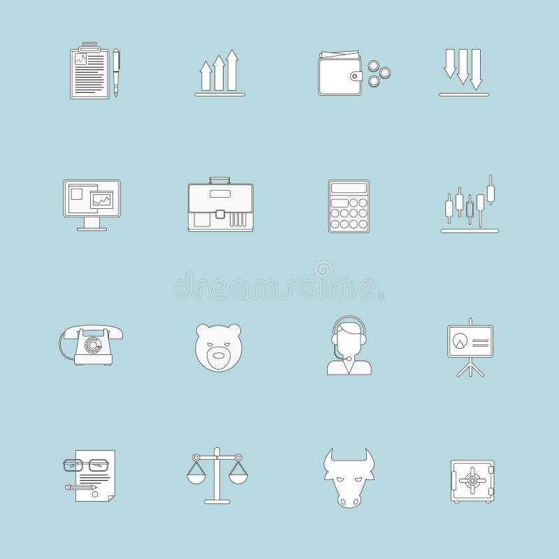 Finansowa wekslowa ikony mieszkania linia royalty ilustracja