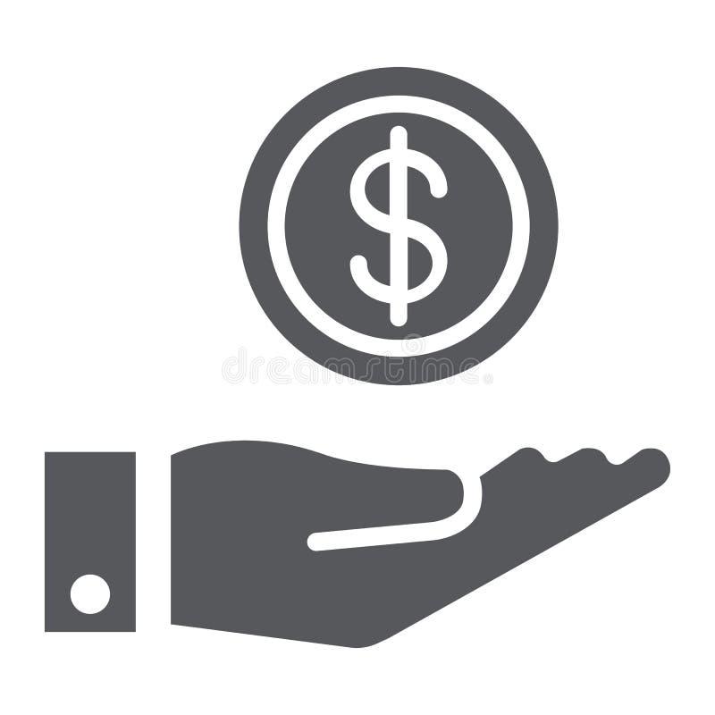 Finansowanie glifu ikona, finanse i bankowość, pieniądze w ręka znaku, wektorowe grafika, bryła wzór na białym tle royalty ilustracja