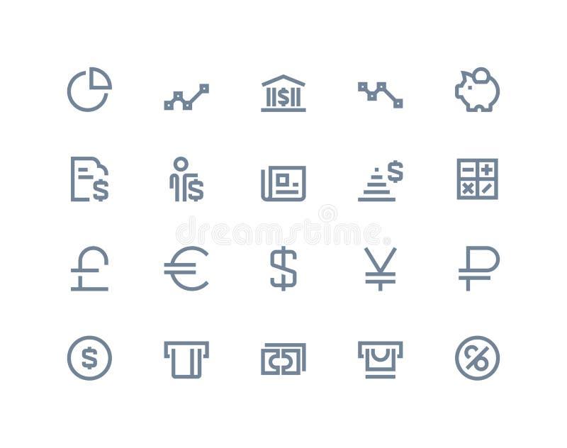 Finansowe i bank ikony Kreskowe serie royalty ilustracja