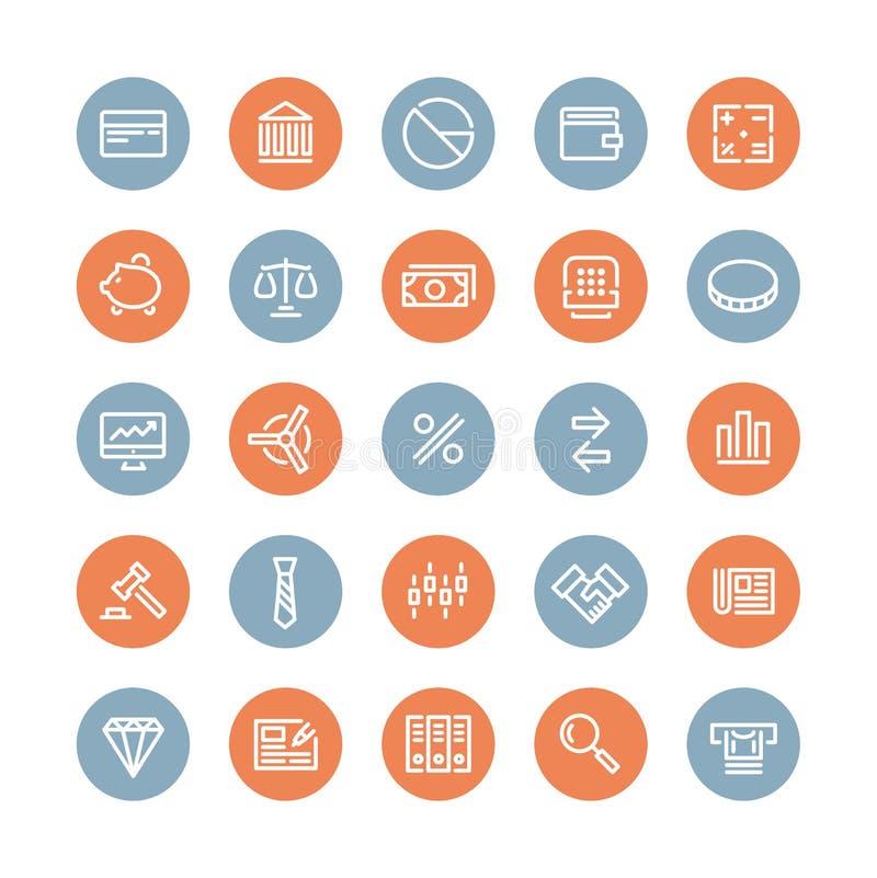 Finansowe i biznesowe płaskie ikony ustawiać royalty ilustracja
