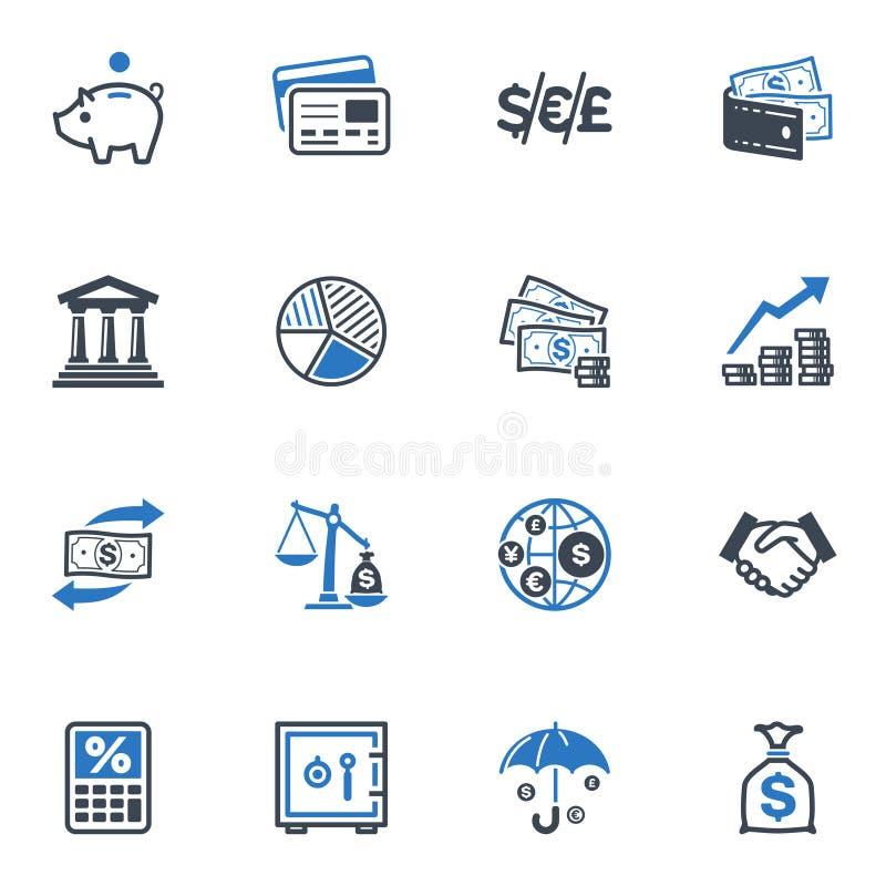 Finansowe ikony - Błękitne serie ilustracja wektor