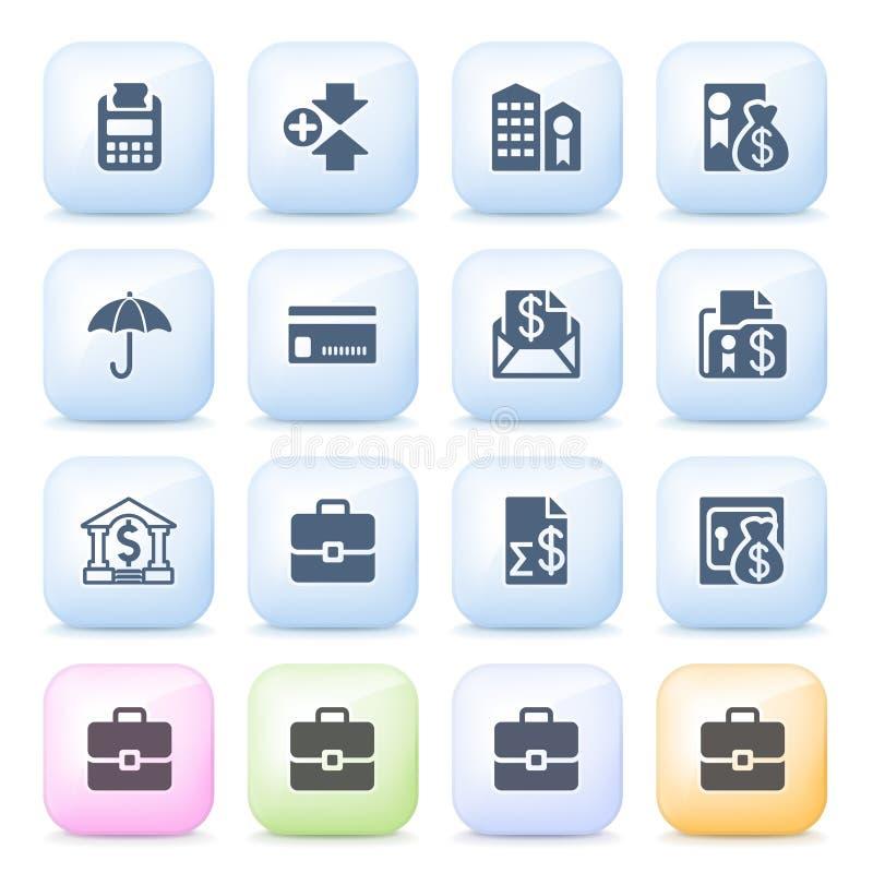 Finansowe ikony na kolorów guzikach. ilustracja wektor