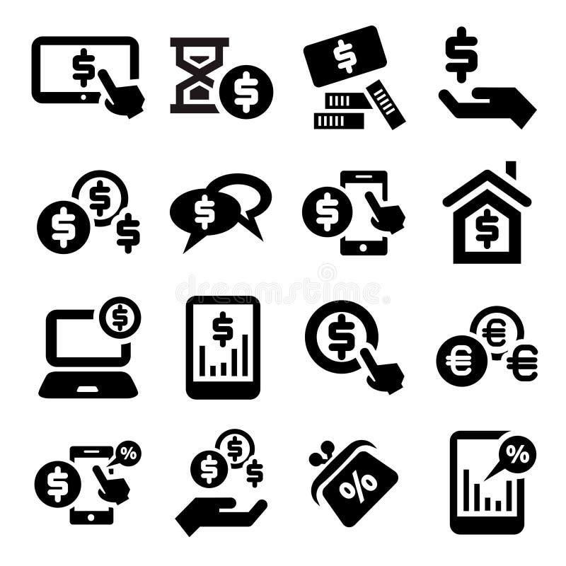 Finansowe ikony ustawiać royalty ilustracja