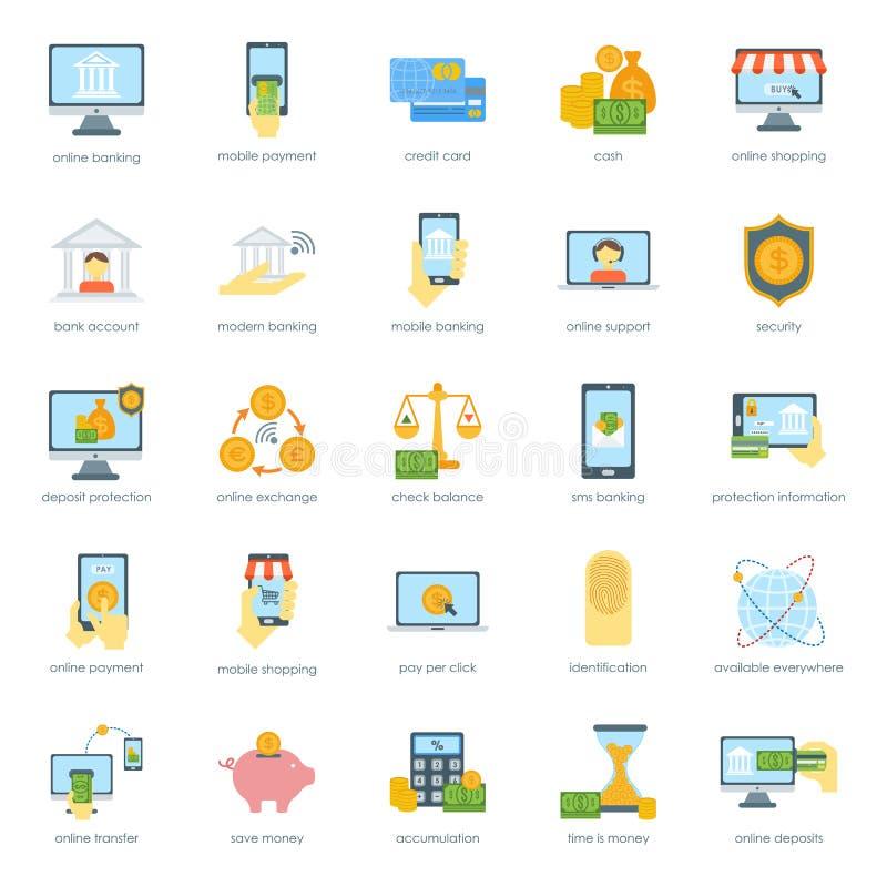 Finansowe ikony ustawiający skrytki karty bankowości płatności gotówkowej kredytowy wektor ilustracja wektor