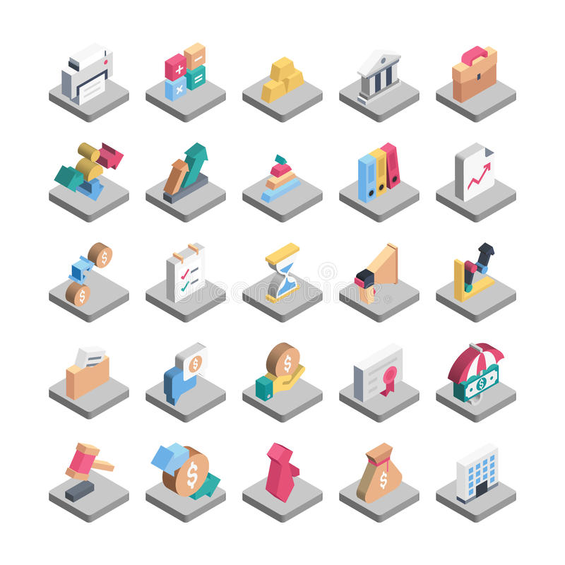 Finansowe Isometric Wektorowe ikony zdjęcie royalty free