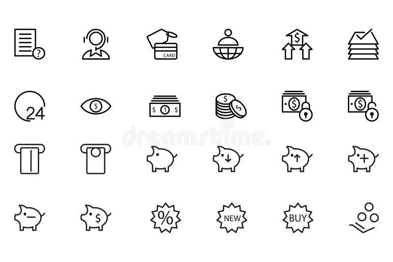 Finansowe Kreskowe ikony 10 ilustracja wektor