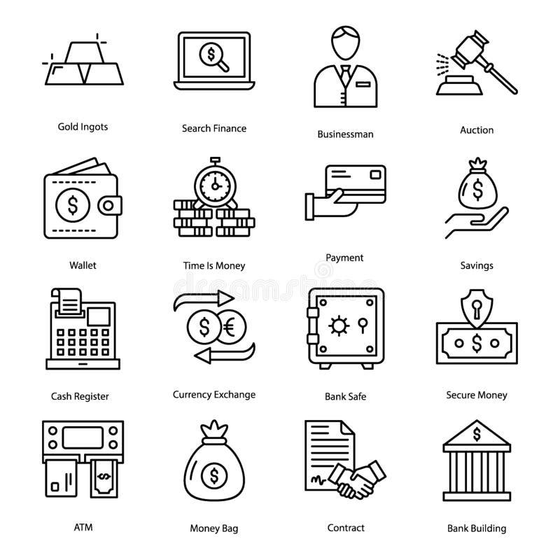Finansowe Kreskowe ikony ilustracja wektor