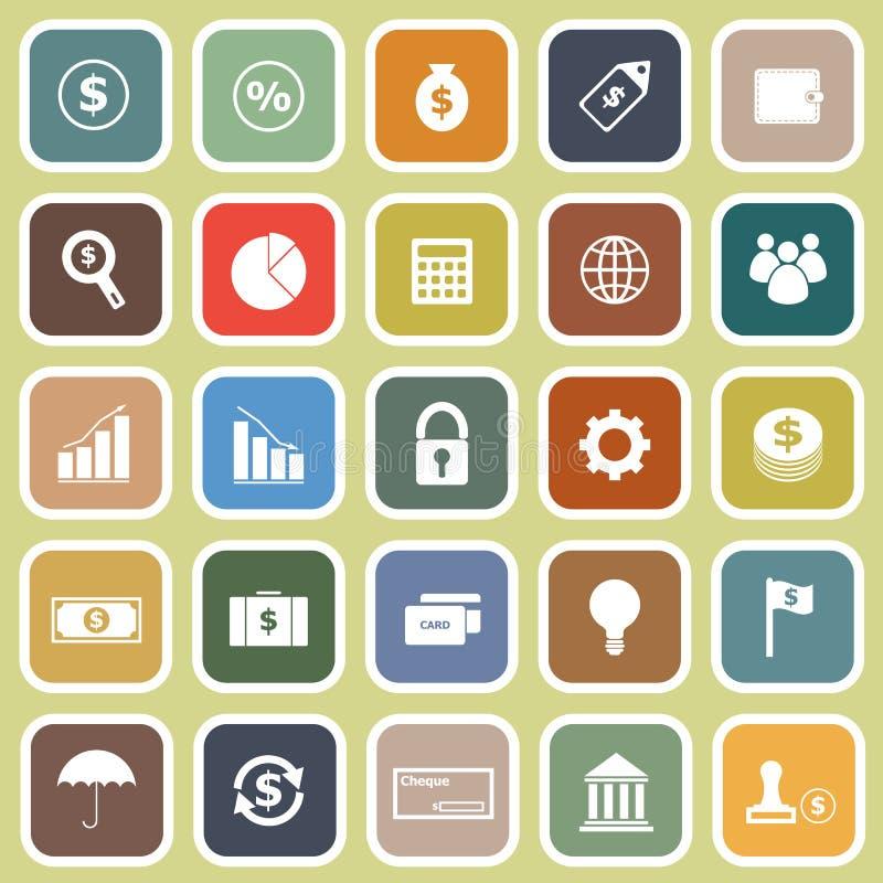 Finansowe płaskie ikony na żółtym tle ilustracja wektor
