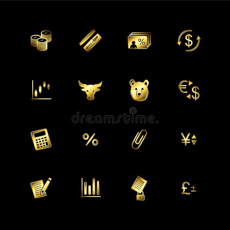 finansowe złociste ikony ilustracji
