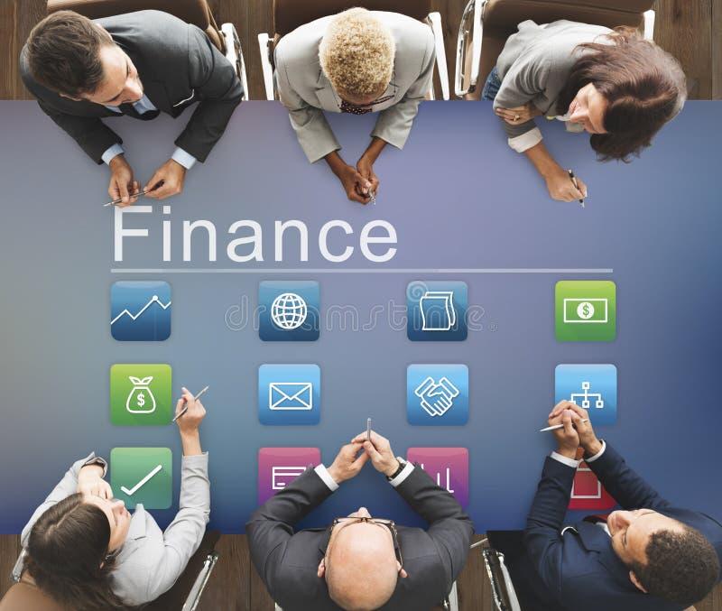 Finansowej gospodarki Podaniowy Inwestorski Graficzny pojęcie obraz stock